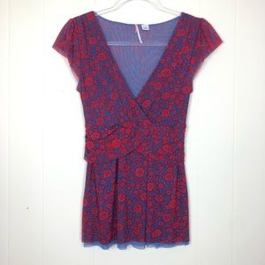 Anthropologie | Ric Rac Red & Blue Floral Blouse